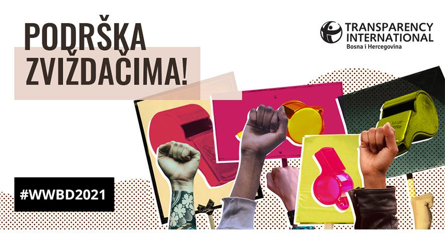 TI BiH, povodom Međunarodnog dana zviždača: Pod hitno usvojiti zakon u FBiH i osnažiti pravnu zaštitu lica koja prijavljuju korupciju